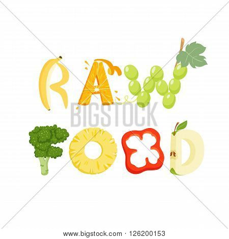 Raw food vegetables letter. Healthy food vector letter. Raw food lettering with vegetables isolated on white background. Text vector illustration. Raw food vegetables font.