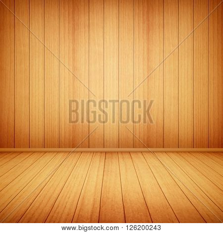 wood floor and wall background eps10 vector illustration