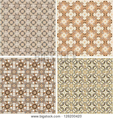 Seamless patterns set in islamic style texture pattern set