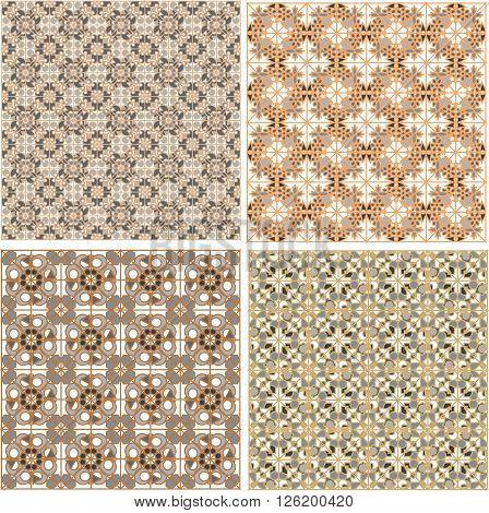 Seamless patterns set in islamic style texture pattern set