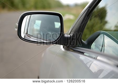 Side view mirror of a car