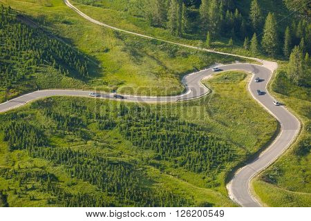 Road of a high mountain pass