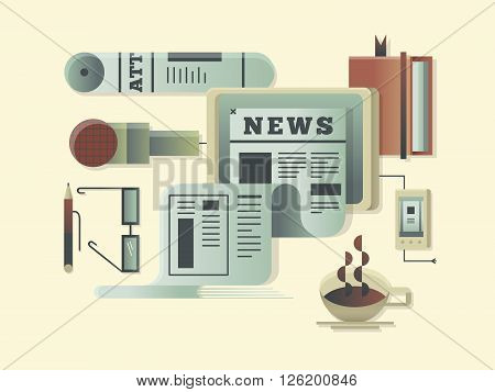 News design concept. Newspaper information media, article press daily. Vector illustration