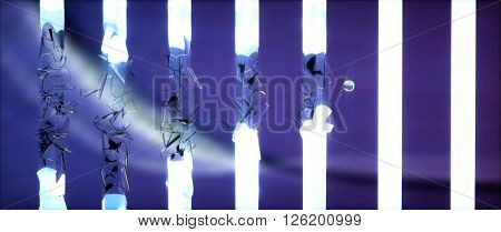 Ball Breaking Fluorescent Lamps On Blue Background
