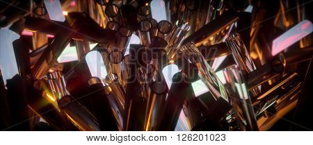 Glowing Translucent Fragile Glass Tubes. Abstract Illustration