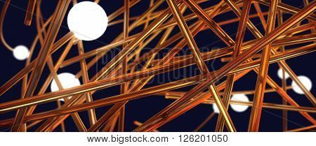 Intertwining Wire And Glowing Balls. Abstract Illustration