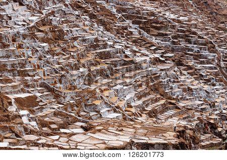 South America South America Pre Inca traditional salt mine (salinas) Sacred Valley Peru