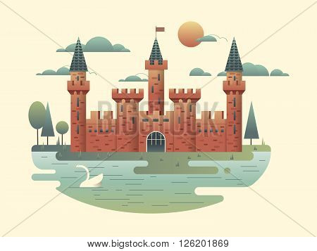 Castle design flat. Building medieval with tower, fortress architecture, palace of kingdom, vector illustration