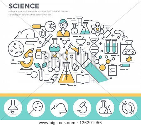 Science, laboratory glassware and science experiments  concept illustration thin line flat design