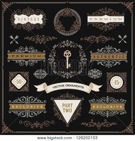 Set of vintage design elements - flourishes and ornamental frames, border, dividers, banners and other heraldic elements for logo, emblem, heraldry, greeting, invitation, page design, identity design.