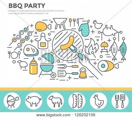 BBQ invitation concept illustration , thin line, flat design