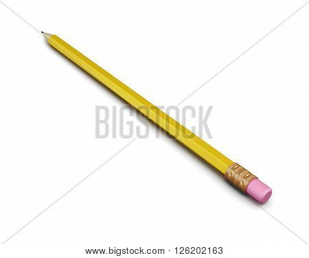 Pencil isolated on white background. 3d rendering.