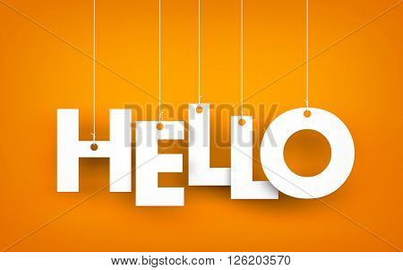 Word HELLO hanging on the ropes. 3d illustration