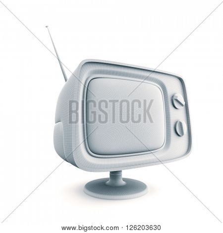Retro Tv. Schematic view. 3d illustration