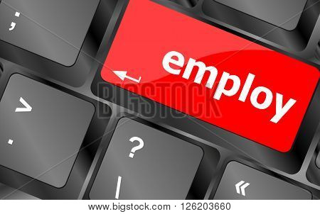 Employ Button On Computer Pc Keyboard Key