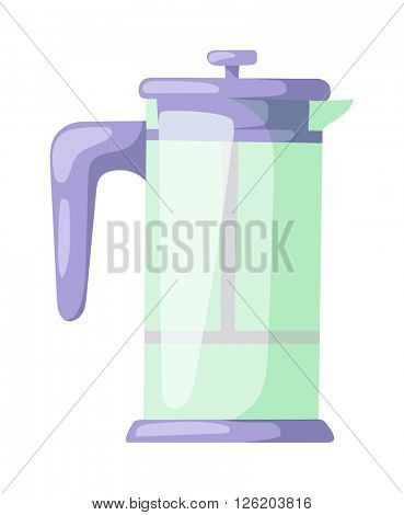 French press for making coffee and tea kitchenware vector.