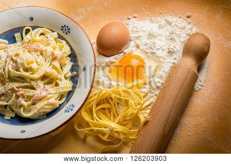 salmon pasta with homemade pasta ingredients