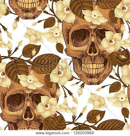 Template pattern of human skulls and flowers seamless vector. Vintage. Human skulls and devil's guts on white background. Illustration of gold human skulls and plants. Designed on the theme of death.