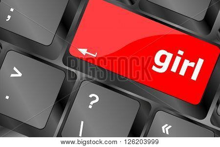 red computer keyboard key button - girl