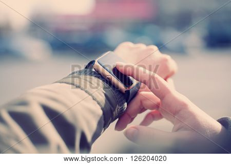 Close Up Of Female Hands With Smart Watch