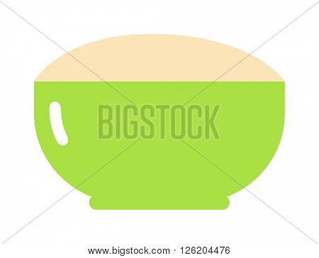 Green cereal plate healthy breakfast nutrition detailed flat vector icon.