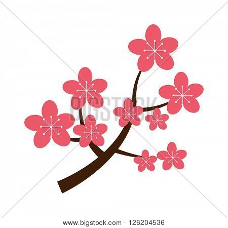 Realistic sakura japan cherry branch with blooming flowers vector illustration.
