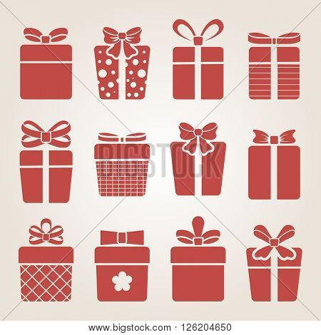 Red present box icons vector set.