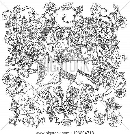 uncolored man and women as fairy tale princess and prince Adult coloring book famous zenart style. Hand-drawn, retro, doodle, vector, uncoloured. The best for design, textiles, cards, coloring book