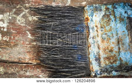 Paint brushes with bristles black. In the old rust and dust in the Island Vintage.