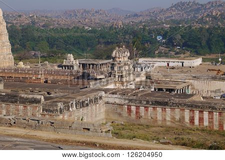 View from the hill on the most ancient operating Virupaksha's temple in the village of Hampi in India