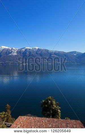 Panoramic view of Lake Maggiore in Ticino, Switzerland