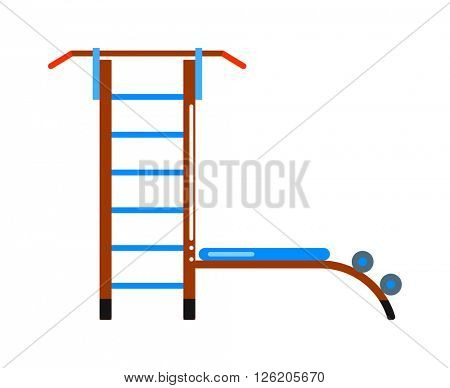 Sports staircase trainer exercises gymnastics ladder and wall bars vector.
