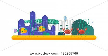 Underwater background coral garden with glossy water surface colorful fish playing vector.