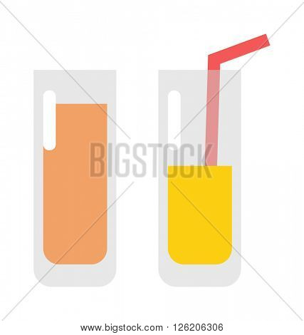 Glass of orange juice fresh drink beverage healthy flat isolated vector illustration.
