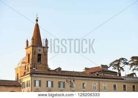 the bell tower in Popolo square in Rome