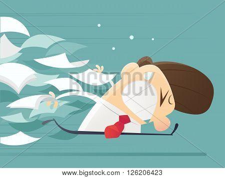 Businessman running away from document, illustration, Cartoon