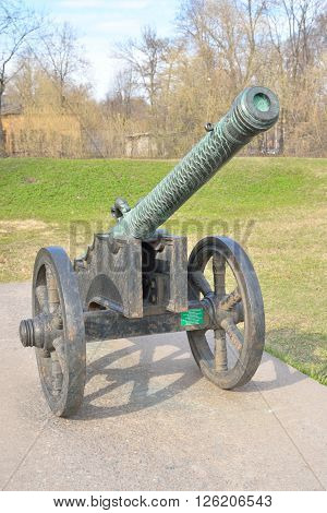Old cannon near Military Artillery Museum in St.Petersburg Russia.