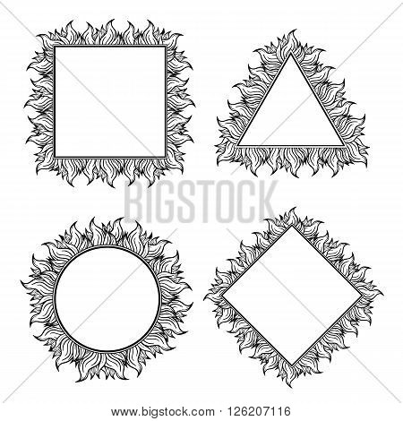 Set of black white squared, circle and triangle frames with spurts of flame. Vector illustration. Rock'n'roll style.