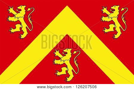 Flag of Anglesey or Ynys Mon is an island of the north-west coast of Wales United Kingdom of Great Britain