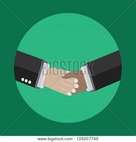 Shaking Hands Icon on the green background