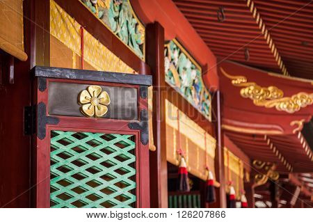 windows of Dazaifu Tenmangu shrine in Fuguoka Kyushu Japan