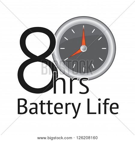 8 hours Battery Life banner with white background. Productivity emblem