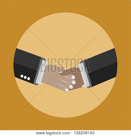 Shaking hands icon on the yellow background. Business and partnership agreement.