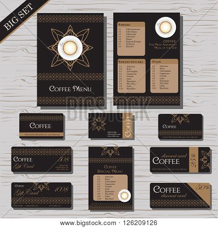 Restaurant cafe menu template set, gift certificate, business card, discount card