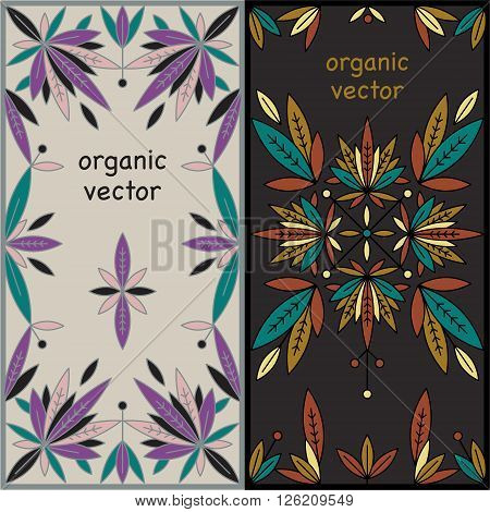 Set of design templates unique luxury packaging. Natural motives of leaves, branches modern style mono line. Designed for packaging organic natural products. Vector illustration of packaging material.