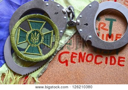 ILLUSTRATIVE EDITORIAL.Chevron of Ukrainian nazionalist battalion. At April 17,2016 in Kiev, Ukraine