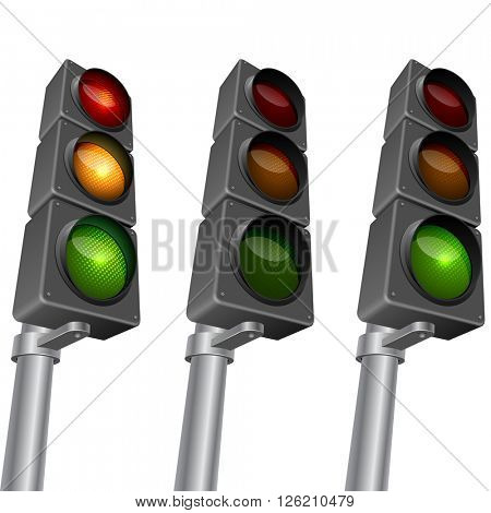 Traffic light isolated on white background vector illustration. Traffic light editable vector template with organized layers. EPS10 vector format.