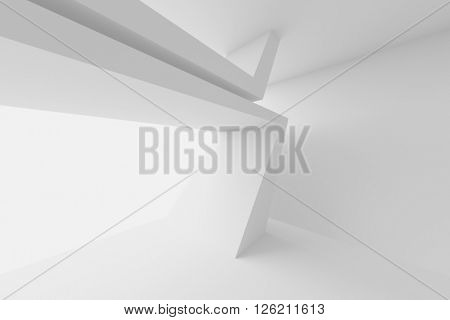 Abstract Architecture Design. White Modern Background. 3d Illustration of Modern Architecture Concept
