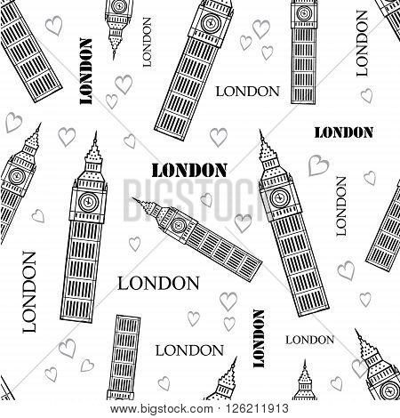 Vector London Symbols Black White Seamless Pattern With Big Ben Tower, Hearts and Words. Perfect for travel themed backgrounds, cards, packaging, wallpaper. Textile design and surface pattern design.