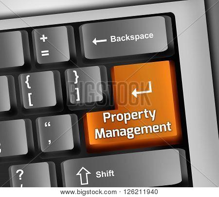 Image Photo Keyboard Illustration with Property Management wording